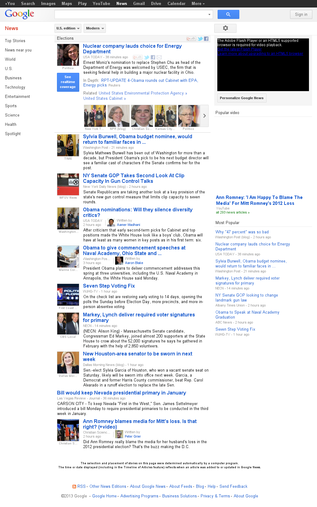 Google News: Elections at Tuesday March 5, 2013, 12:09 a.m. UTC
