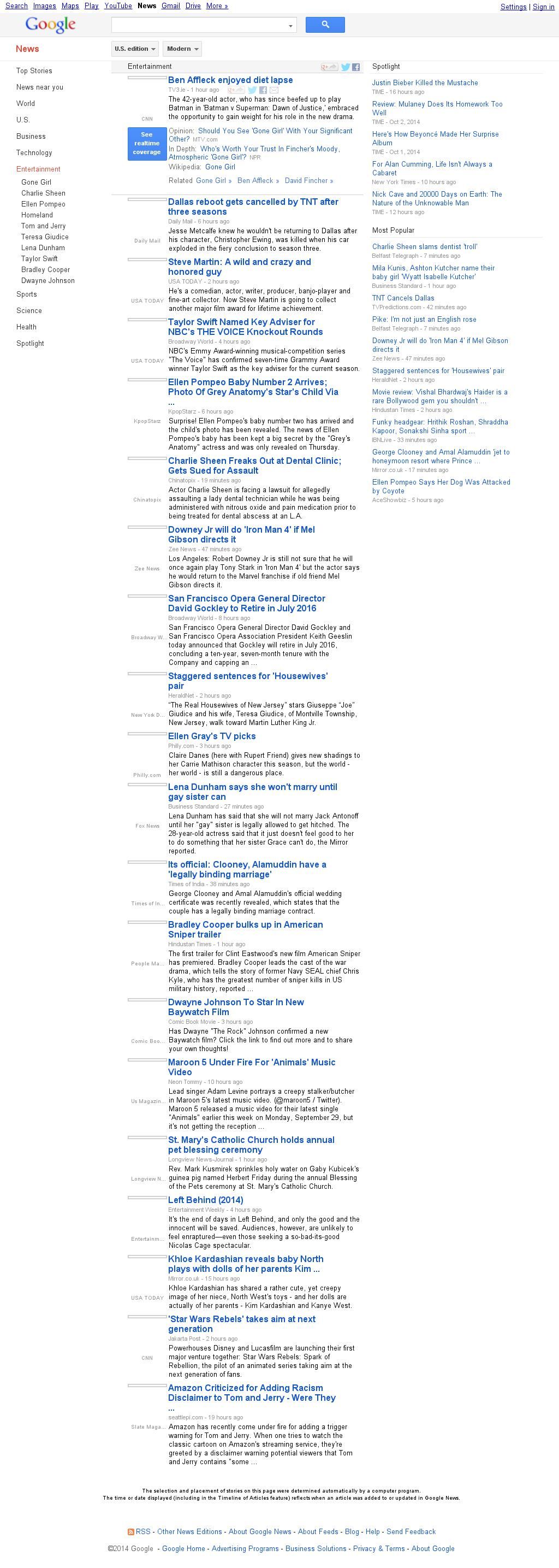 Google News: Entertainment at Saturday Oct. 4, 2014, 10:07 a.m. UTC